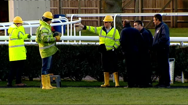 two horses die at newbury; wide shot racecourse / gvs investigators at scene of the accident / gvs paddocks / close up of turf where accident happened - newbury inghilterra video stock e b–roll