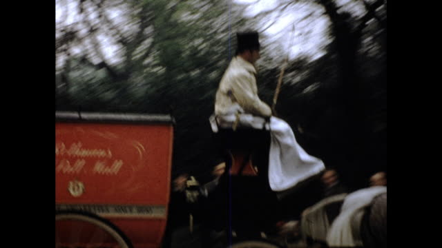 two horses pulling red cart with two men dressed in white and wearing black top hats sitting on it cars on the street and people in the background... - ウマ科点の映像素材/bロール