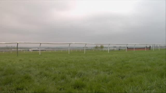 sm la ws two horses running at newbury racecourse / newbury, england, uk - newbury england stock videos & royalty-free footage