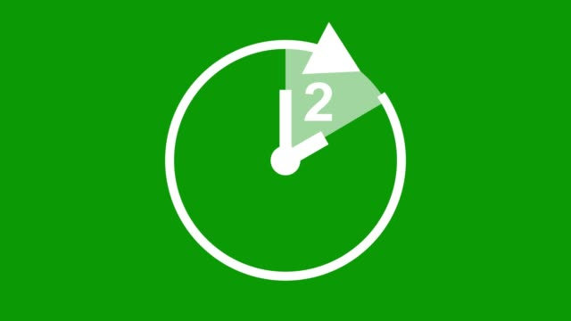 two hour, stopwatch animated icon clock with moving arrows simple animation. time counter symbol. green screen - number 2 stock videos & royalty-free footage