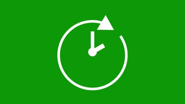 zwei stunden, stoppuhr animierte symbol uhr mit beweglichen pfeilen einfache animation. zeitzählersymbol. grüner bildschirm - arrow symbol stock-videos und b-roll-filmmaterial