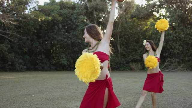 Twee hula dansers het uitvoeren van routine in synce