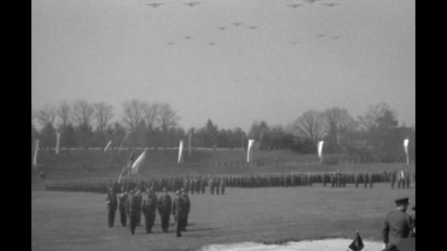 two indistinct shots / soldiers standing in formation on field warplanes flying in formation overhead / gen dwight eisenhower supreme allied... - general military rank stock videos and b-roll footage