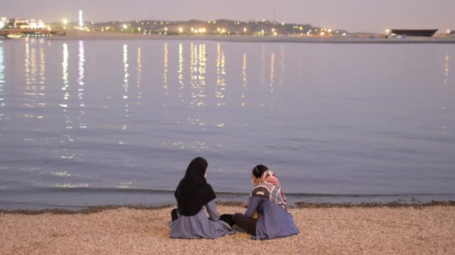 two iranian women wearing protective face masks talk to each other as they sit on the shore of the chitgar lake in the recreational chitgar complex... - seeufer stock-videos und b-roll-filmmaterial