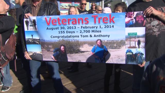 ktla two iraq war veterans who were trying to raise money to help other veterans by walking cross country from wisconsin to los angeles completed... - post traumatic stress disorder stock videos and b-roll footage