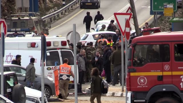 vídeos de stock, filmes e b-roll de two israelis were killed and two others wounded in a driveby shooting near the west bank city of ramallah on thursday according to the israeli... - ramallah
