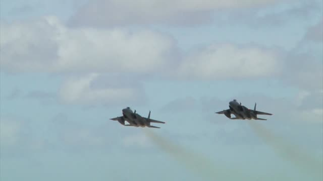 Two Japan Air Self Defence F15 Eagles take off together from Andersen Air Force Base Guam during Exercise Cope North 19