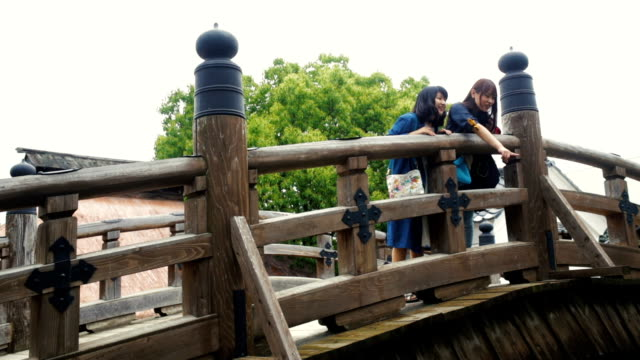 Two Japanese Women Tourists Exploring a Traditional Village