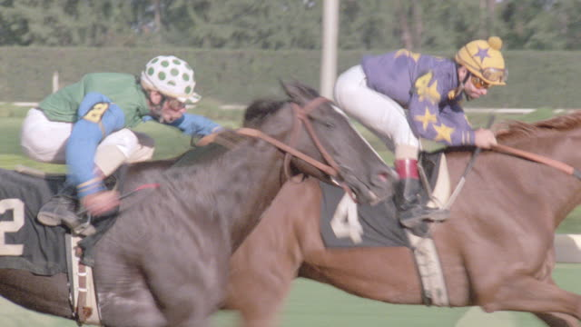 two jockeys vie for position at the finish line of a racetrack. - horse racing stock videos & royalty-free footage