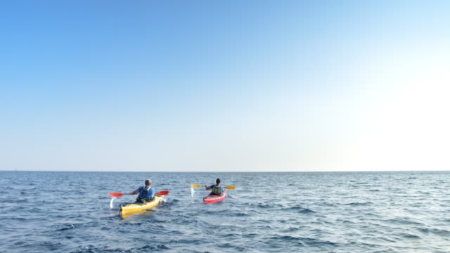 two kayakers at sea in sunshine - kayak stock videos & royalty-free footage
