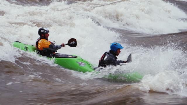 Slo Mo Ms Pan Two Kayakers In Dual Seat Whitewater Kayak