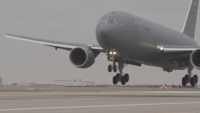 two kc46a pegasus tankers land at mcconnell air force base kansas - boeing stock videos & royalty-free footage