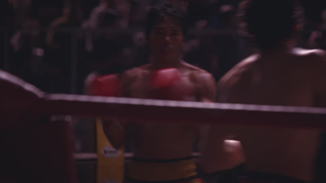 two kickboxers punch, kick, and grapple in a boxing match. - kickboxing stock videos & royalty-free footage