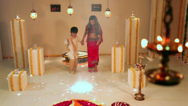 two kids celebrating diwali festival - brother stock videos & royalty-free footage