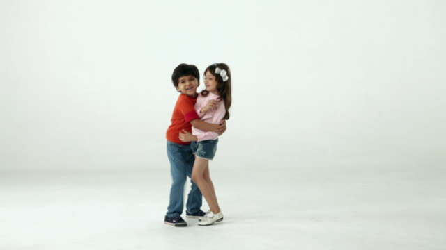 Two kids romancing