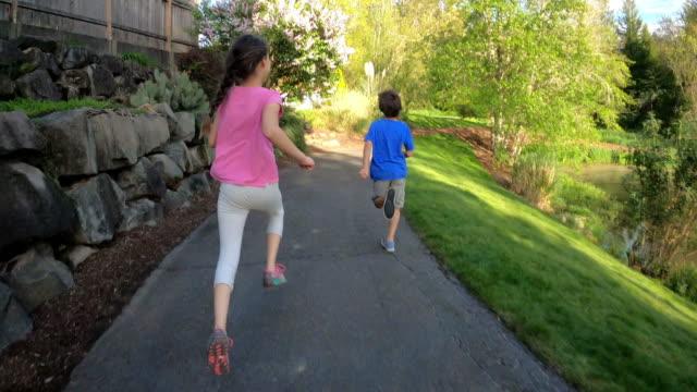 stockvideo's en b-roll-footage met twee jonge geitjes die langs pad door meer lopen - voetgangerspad