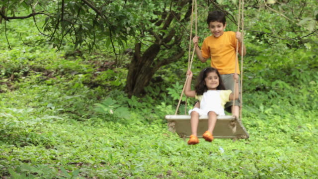 two kids swinging in a park, malshej ghat, maharashtra, india - sister stock videos and b-roll footage