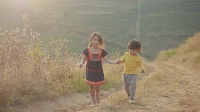 two kids walking together on the lawn - life events stock videos & royalty-free footage