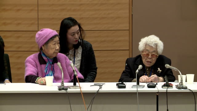 vídeos de stock e filmes b-roll de two korean women who were forced to work in japan's wartime military brothels criticized on tuesday the landmark deal signed late last year between... - korean new year