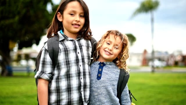 two little brothers go to school - first day of school stock videos & royalty-free footage