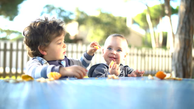 two little brothers peeling and eating tangerines in the garden - brother点の映像素材/bロール