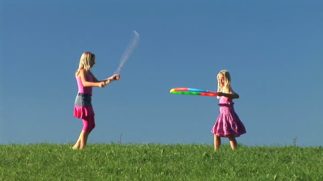hd: two little girls exercising - jump rope stock videos and b-roll footage