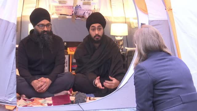 two london men stage garden tent protest to show solidarity with indian farmers; england: london: hayes: ext gurpreet singh dhindsa interview sot... - politics stock videos & royalty-free footage