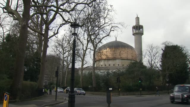 two london mosques given protected heritage status general view dome of london central mosque near regent's park prayer hall windows tilt up... - london central mosque stock videos & royalty-free footage