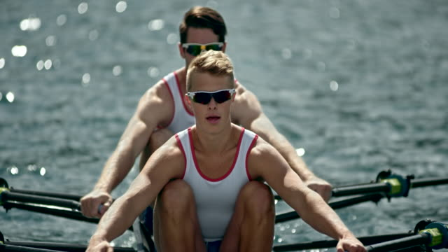 two male athletes sculling in sunshine - sculling stock videos & royalty-free footage