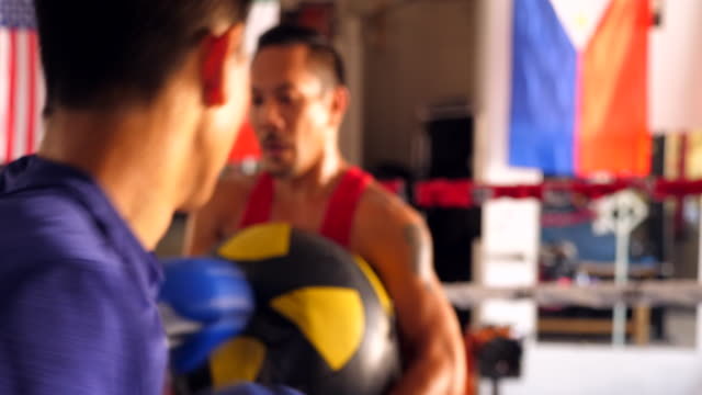 ms two male boxers training together in boxing ring in gym - punch bag stock videos & royalty-free footage