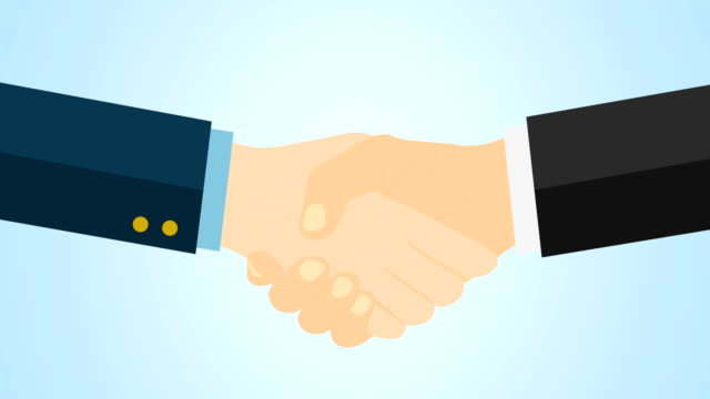 two male business partners shaking hands, profitable agreement, co-operation, 4k cartoon animation. alpha luma matte included. - matte finish stock videos & royalty-free footage