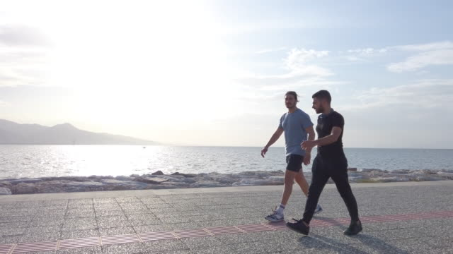 two male friends walking at seaside - only men stock videos & royalty-free footage