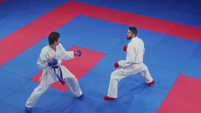two male karate in a fight on the tatami - combat sport stock videos & royalty-free footage