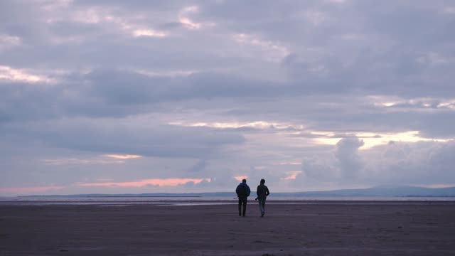 two man walking towards the shoreline on a sandy beach, during a cloudy sunset - horizon over water stock videos & royalty-free footage