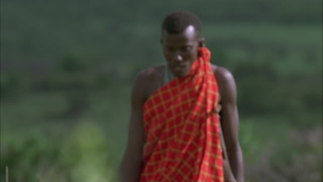 Two Masai tribesman talk as they walk. Available in HD.