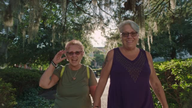slo mo. two mature women hold hands as they walk and talk through neighborhood park on sunny day. - active lifestyle stock videos & royalty-free footage