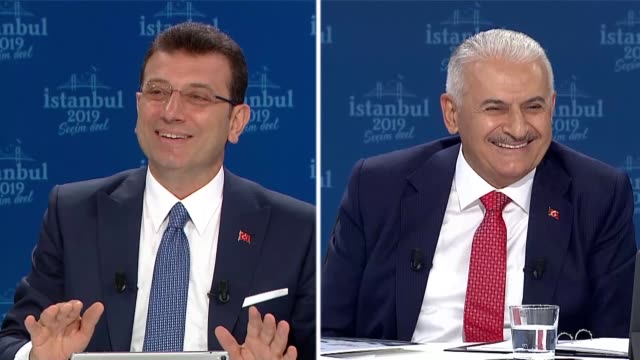 two mayoral candidates for the turkish megalopolis istanbul binali yildirim and ekrem imamoglu on sunday sat down in a special tv studio for a debate... - debate stock videos and b-roll footage