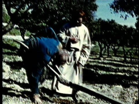 recreation, montage, two medieval farmers talking on field - medieval stock videos and b-roll footage