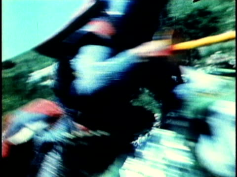 1956 reenactment montage two medieval knights on horseback jousting  - greave stock videos and b-roll footage