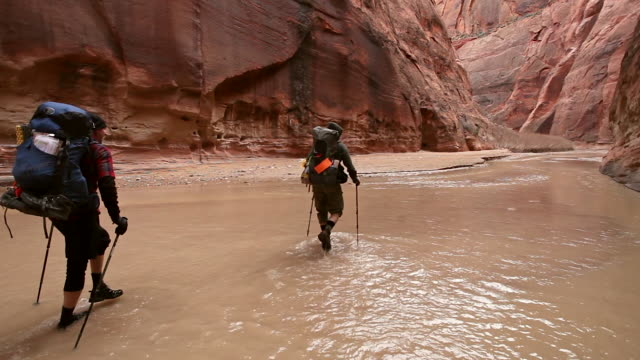 two men and a woman hiking with backpacks  through river in deep red rock desert slot canyon. - narrow stock videos & royalty-free footage