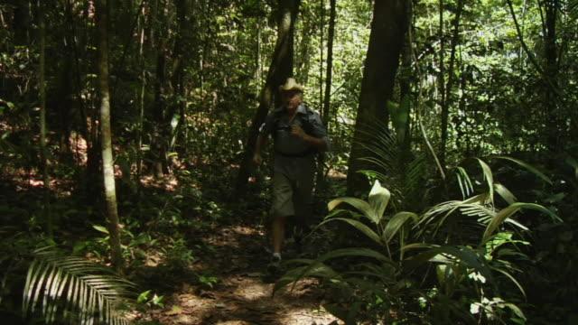 slo mo, ws, ms, two men and woman running through forest, manaus, brazil - アマゾン熱帯雨林点の映像素材/bロール