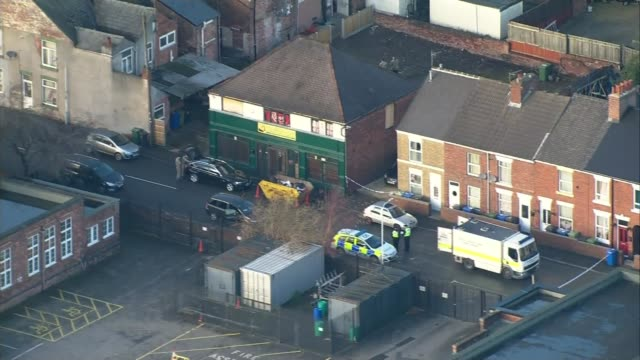 Two men appear in court accused of planning terrorist attack LIB / T19121704 Derbyshire Chesterfield Army bomb disposal unit at scene of police raid