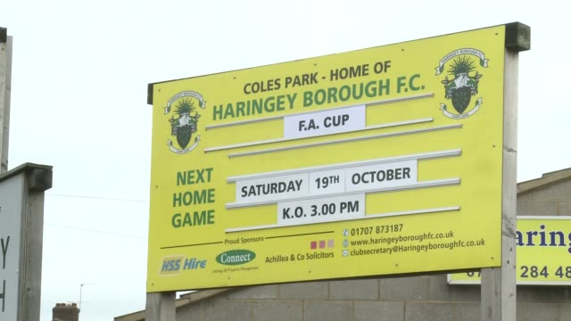 stockvideo's en b-roll-footage met two men arrested over alleged racist abuse during haringey v yeovil match london coles park stadium ext sign 'next home game' at coles park football... - yeovil