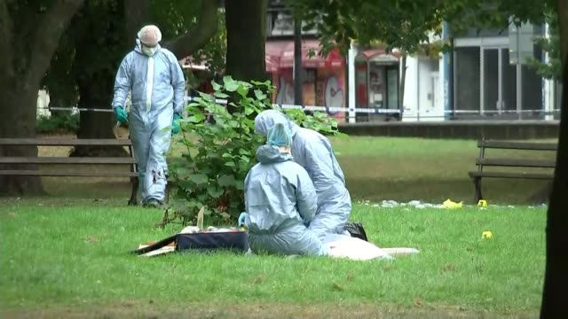two men arrested over fatal stabbing in brixton hill released on bail england london brixton hill ext blue police cordon tape across road forensic... - knife crime stock videos & royalty-free footage