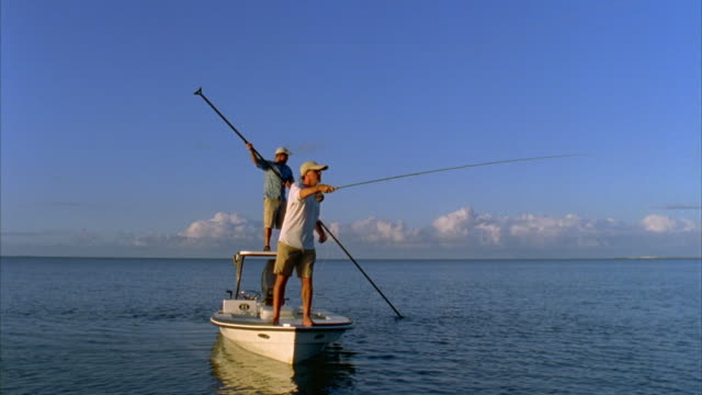 ws, two men bone fishing from flat boat, vieques, puerto rico - fly fishing stock videos and b-roll footage