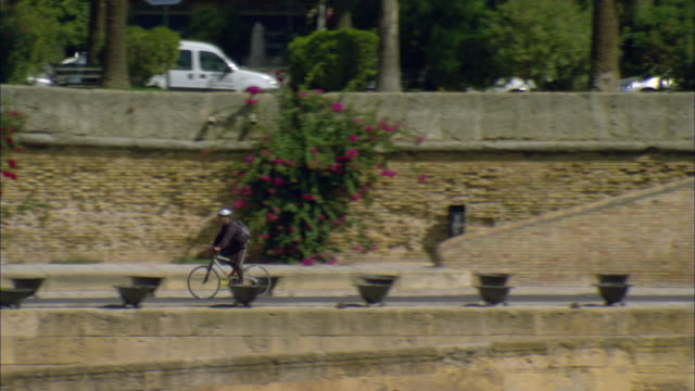 ws ts two men cycling down promenade alongside stone wall overgrown with colorful flowers / seville, andalusia, spain - stone wall stock videos and b-roll footage
