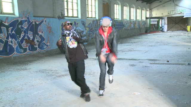ms zo two men dancing in warehouse, gent, belgium - two people stock videos & royalty-free footage