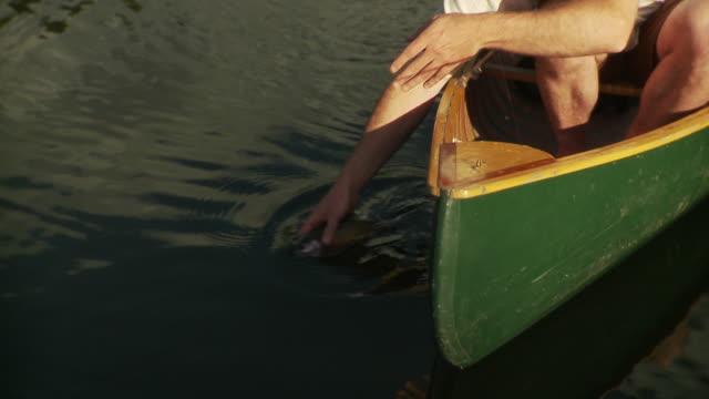 cu tu ms two men fishing from canoe on lake, man releasing fish into water, morristown, vermont, usa - korta ärmar bildbanksvideor och videomaterial från bakom kulisserna