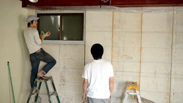 two men have been the meeting of preparation of paint,japan,kyoto - flip flop stock videos and b-roll footage