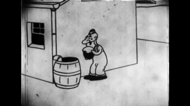 Two men hide in a barrel to flee from a man whom they think is carrying a bomb